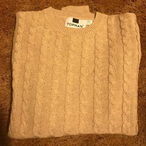Topman cable knit pattern, cotton sweater. Xxs